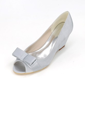 Women's Satin Stiletto Heel Peep Toe Pumps Wedges With Ribbon Tie