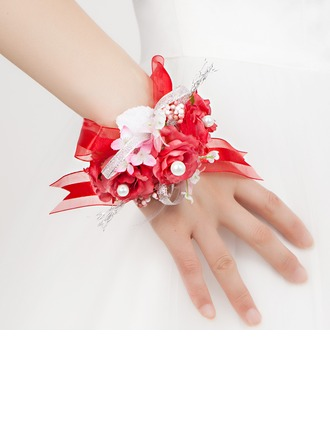 Red Free-Form Satin/Cotton Wrist Corsage