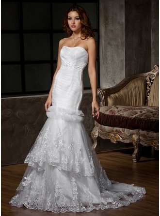 Trumpet/Mermaid Sweetheart Court Train Satin Tulle Wedding Dress With Ruffle Beading Appliques Lace