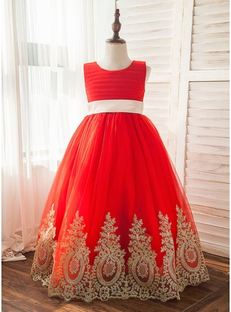 A-Line/Princess Floor-length Flower Girl Dress - Tulle/Lace Sleeveless Scoop Neck With Sash