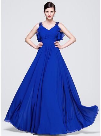 A-Line/Princess V-neck Floor-Length Chiffon Evening Dress With Ruffle Beading Sequins Cascading Ruffles