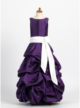 A-Line/Princess Scoop Neck Floor-Length Taffeta Junior Bridesmaid Dress With Ruffle Sash Flower(s)