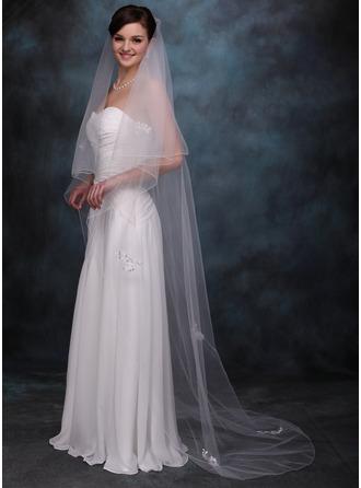 2 couches Voiles de mariée chappelle avec Liseret