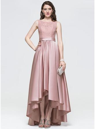 Corte A/Princesa Escote redondo Asimétrico Satén Vestido de baile de promoción con Lazo(s)