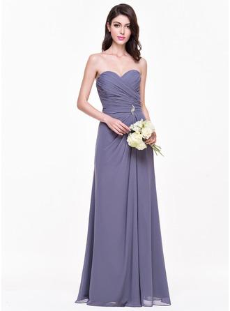 A-Line/Princess Sweetheart Floor-Length Chiffon Bridesmaid Dress With Ruffle Crystal Brooch