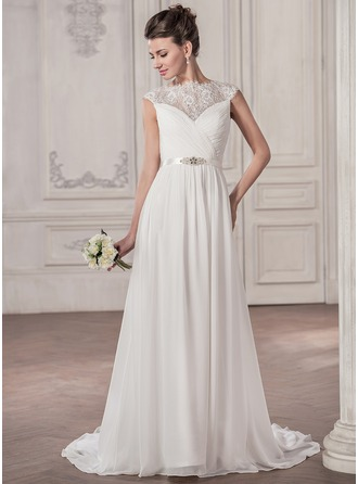 A-Line/Princess Scoop Neck Sweep Train Chiffon Wedding Dress With Ruffle Beading Sequins Bow(s)