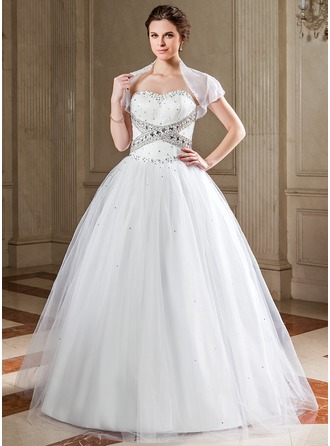 Ball-Gown Sweetheart Floor-Length Satin Tulle Quinceanera Dress With Ruffle Sequins