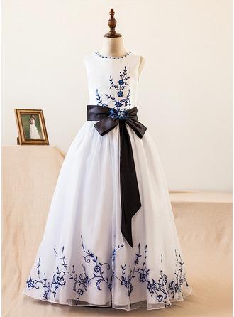 A-Line/Princess Floor-length Flower Girl Dress - Organza/Satin Sleeveless Scoop Neck With Sash/Beading/Bow(s)
