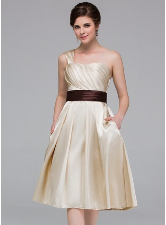 A-Line/Princess One-Shoulder Knee-Length Charmeuse Bridesmaid Dress With Ruffle Sash