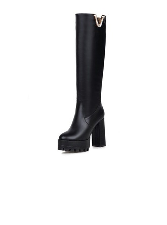 Women's Leatherette Chunky Heel Pumps Platform Closed Toe Knee High Boots With Rhinestone shoes