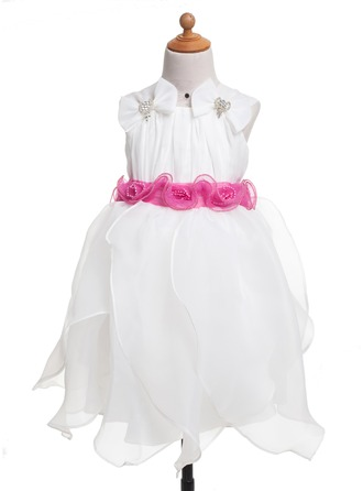 A-Line/Princess Tea-Length Chiffon Flower Girl Dress With Flower(s) Cascading Ruffles