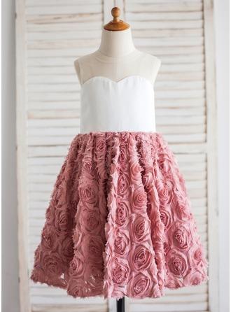 A-Line/Princess Tea-length Flower Girl Dress - Chiffon/Lace Sleeveless Scoop Neck With Flower(s)
