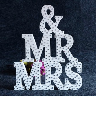 """Mr. & Mrs."" Wooden With Rhinestone Decorative Accessories"