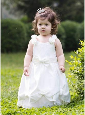 A-Line/Princess Scoop Neck Floor-Length Satin Flower Girl Dress With Flower(s) Bow(s)