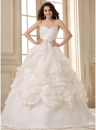 Ball-Gown Sweetheart Court Train Satin Organza Wedding Dress With Ruffle Beading Cascading Ruffles
