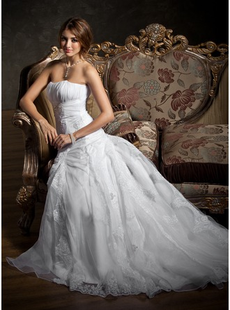 A-Line/Princess Sweetheart Court Train Satin Organza Wedding Dress With Ruffle Lace Beading