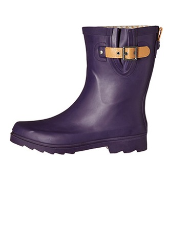 Femmes Caoutchouc Talon bas Bottes mi-mollets Bottes de pluie avec Boucle chaussures
