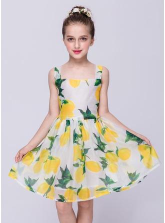 A-Line/Princess Knee-length Flower Girl Dress - Polyester Sleeveless Straps