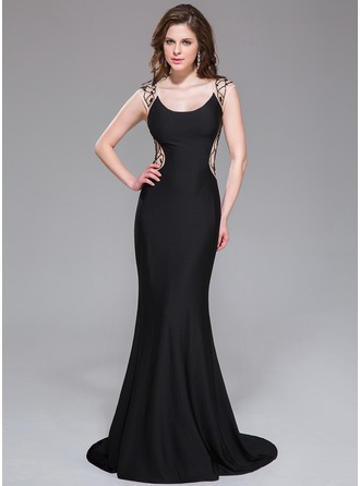 Trumpet/Mermaid Scoop Neck Court Train Tulle Jersey Evening Dress With Beading