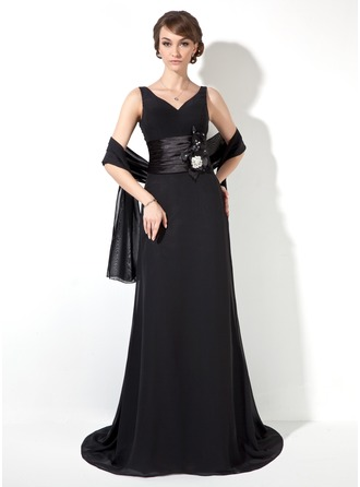 A-Line/Princess V-neck Sweep Train Chiffon Charmeuse Mother of the Bride Dress With Ruffle Crystal Brooch