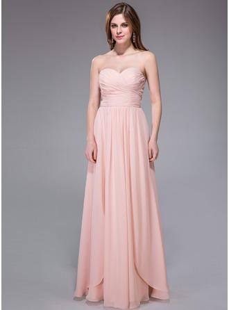 A-Linie/Princess-Linie Herzausschnitt Bodenlang Chiffon Brautjungfernkleid mit Rüschen
