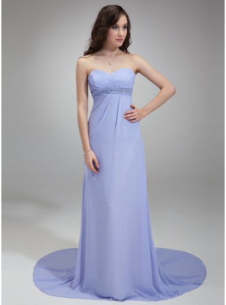 Empire Sweetheart Court Train Chiffon Evening Dress With Ruffle Beading