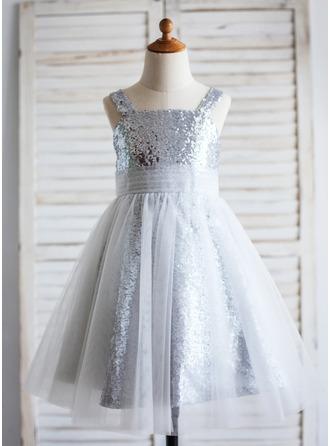 Forme Princesse Longueur mollet Robes à Fleurs pour Filles - Tulle/Pailleté Sans manches U Neck