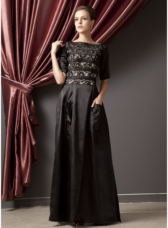 A-Line/Princess Scoop Neck Floor-Length Charmeuse Mother of the Bride Dress With Ruffle