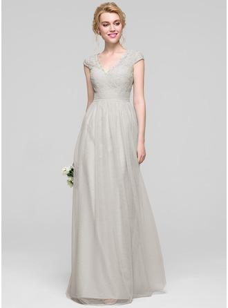 Трапеция/Принцесса V-образный Длина до пола Тюль Платье Подружки Невесты с Рябь