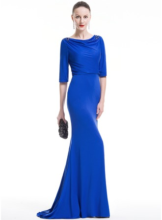 Trumpet/Mermaid Cowl Neck Sweep Train Jersey Evening Dress With Ruffle Beading Sequins
