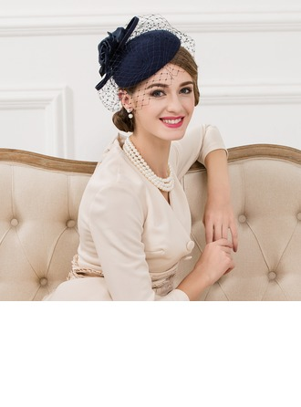 Ladies' Vintage Wool With Silk Flower/Tulle Fascinators
