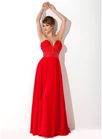 A-Line/Princess Sweetheart Floor-Length Chiffon Evening Dress With Beading Flower(s)