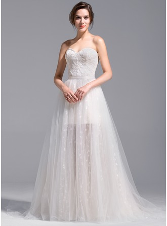A-Line/Princess Sweetheart Short/Mini Detachable Tulle Lace Wedding Dress
