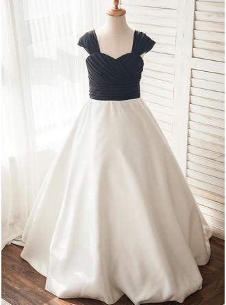 A-Line/Princess Floor-length Flower Girl Dress - Chiffon/Satin Sleeveless Straps