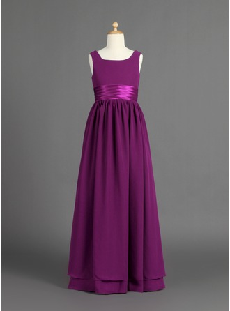 A-Line/Princess Scoop Neck Floor-Length Chiffon Charmeuse Junior Bridesmaid Dress With Ruffle