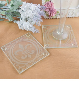 """Fleur-de-Lis"" Glass Coaster (Set of 2)"
