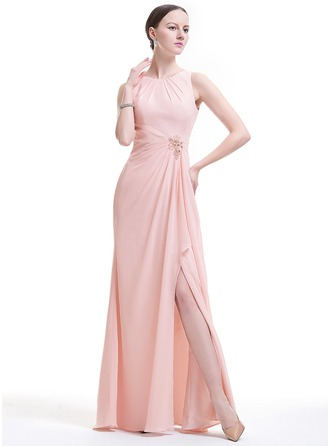 A-Line/Princess Scoop Neck Floor-Length Chiffon Evening Dress With Beading Appliques Lace Sequins Split Front Cascading Ruffles