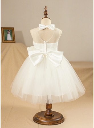 Ball Gown Knee-length Flower Girl Dress - Satin/Tulle Sleeveless Jewel With Bow(s)/Pleated/Back Hole
