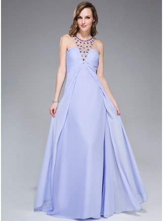Empire Scoop Neck Floor-Length Chiffon Evening Dress With Beading Sequins