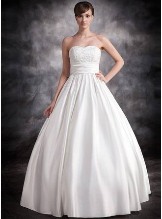 Ball-Gown Sweetheart Floor-Length Satin Wedding Dress With Ruffle Lace