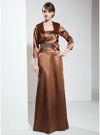 Sheath/Column Strapless Floor-Length Charmeuse Mother of the Bride Dress With Ruffle Beading Flower(s)
