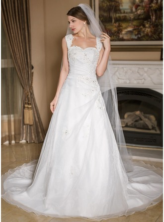 A-Line/Princess Sweetheart Chapel Train Satin Organza Wedding Dress With Ruffle Beading Appliques Lace