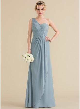 A-لاين أميرة بكتف واحد الطول الأرضي الشيفون فستان وصيفة الشرف مع الكشكشة المتتالية