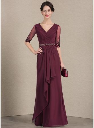 A-لاين أميرة V عنق الطول الأرضي الشيفون فستان أم العروس مع ربط الحذاء مطرز بالخرز ترتر الكشكشة المتتالية