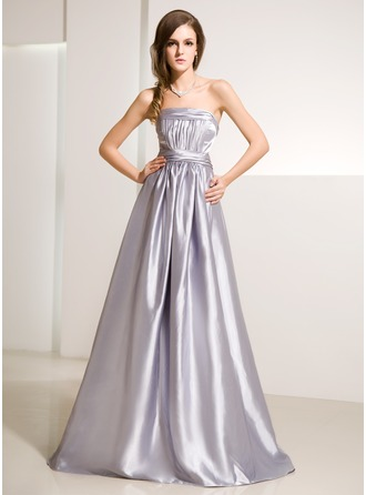 A-Line/Princess Strapless Floor-Length Charmeuse Evening Dress With Ruffle
