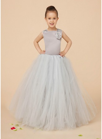 A-Line/Princess Square Neckline Floor-Length Charmeuse Tulle Flower Girl Dress With Beading Flower(s) Sequins Bow(s)