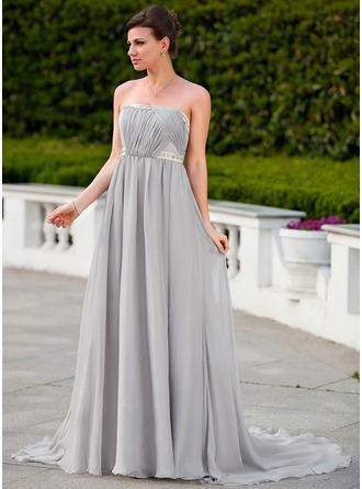 Empire Strapless Court Train Chiffon Evening Dress With Ruffle Beading