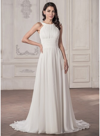 A-Line/Princess Scoop Neck Court Train Chiffon Wedding Dress With Ruffle