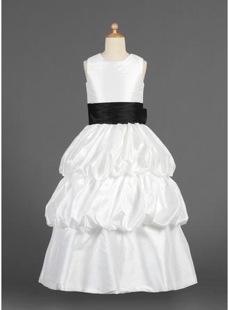 A-Line/Princess Floor-length Flower Girl Dress - Taffeta Sleeveless Scoop Neck With Sash/Flower(s)/Bow(s)/Pick Up Skirt