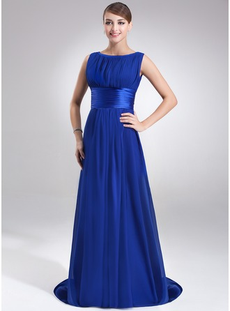 A-Line/Princess Scoop Neck Sweep Train Chiffon Charmeuse Evening Dress With Ruffle